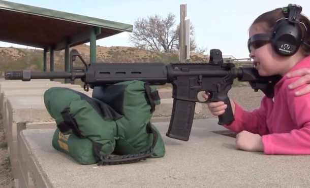 7-Year-Old Girl Shoots An AR-15 Gun For The First Time!