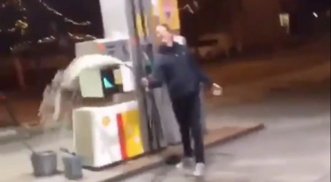 He's Buggin: Dude Pours Gasoline All Over A Gas Station & Himself!